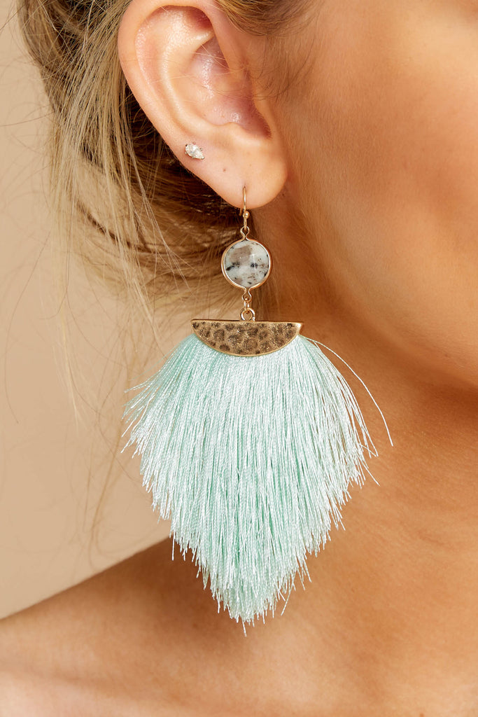 3 The Last Moment Kelly Green Tassel Earrings at reddressboutique.com
