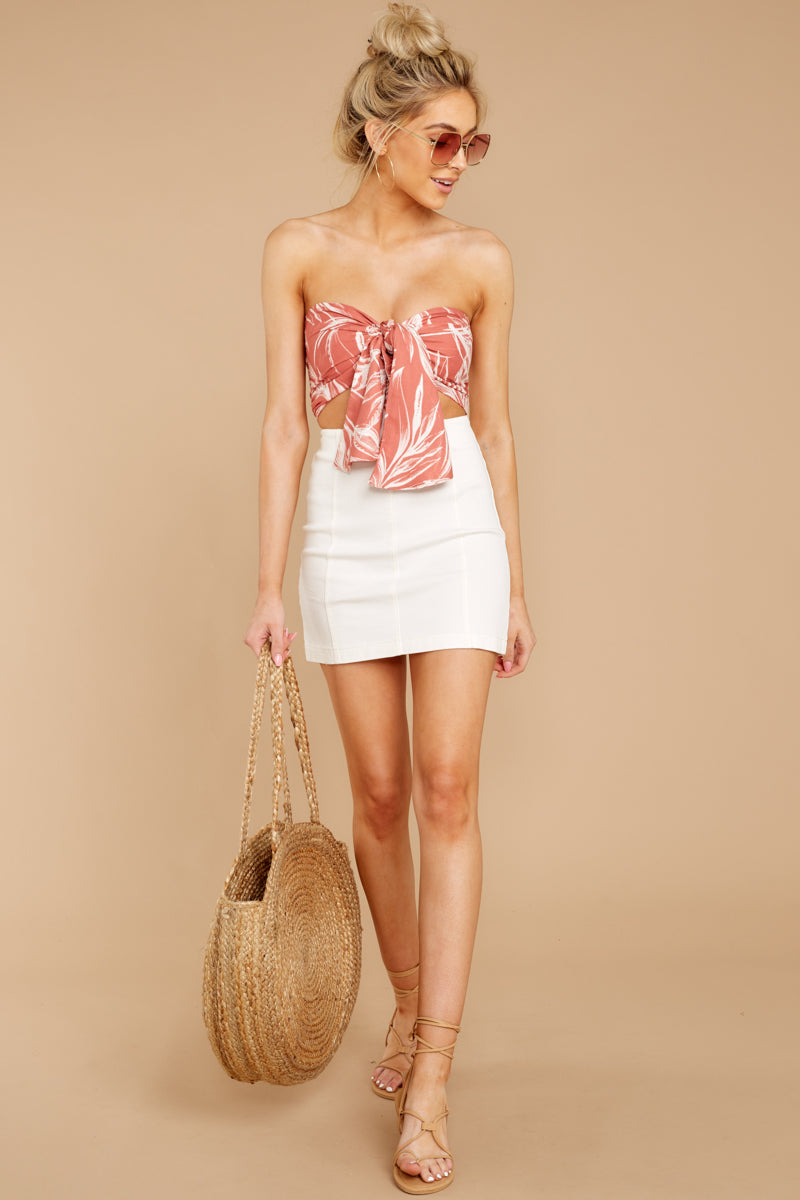 Island Beauty Coral Palm Print Crop Tie Top