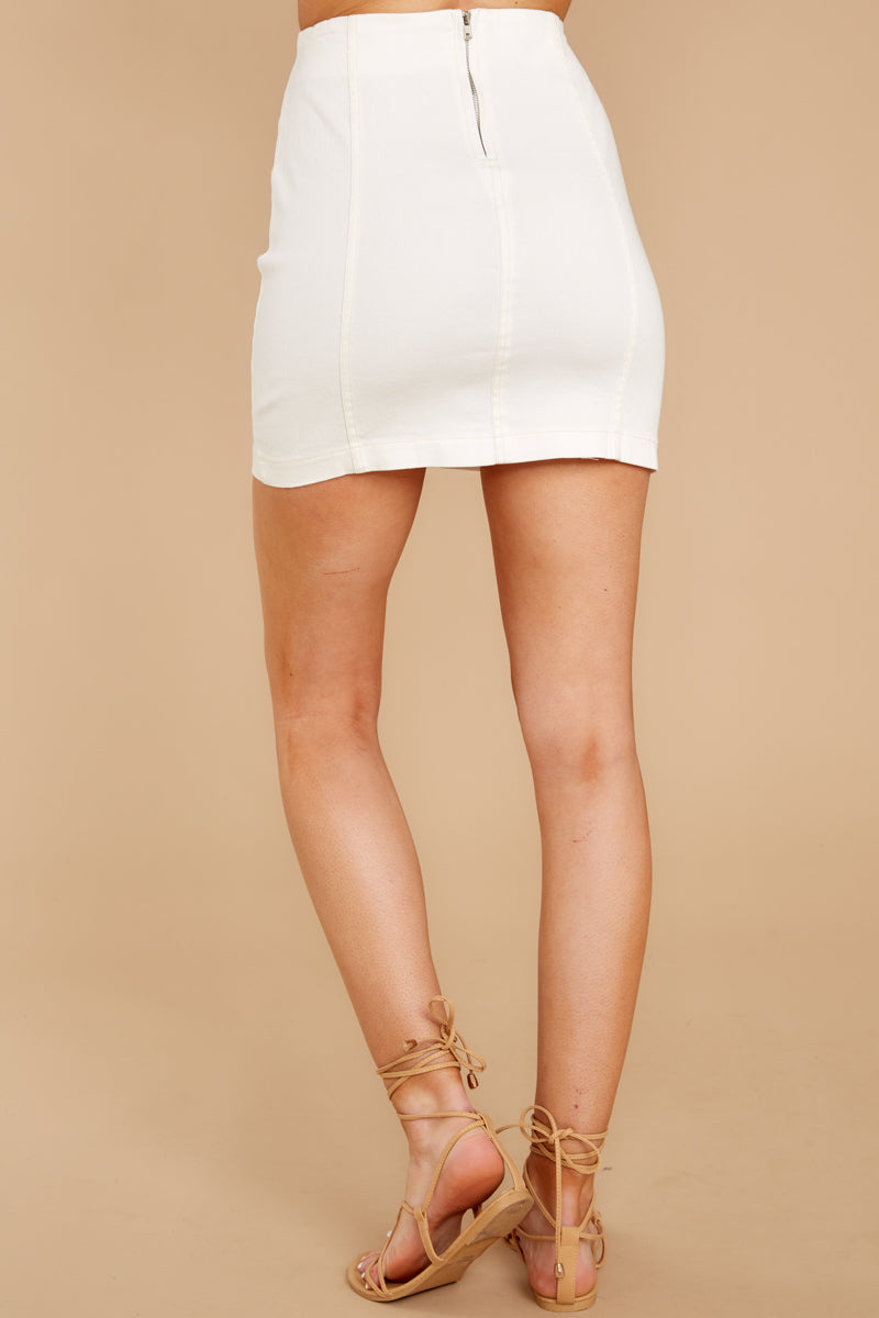 Nothing Without You White Denim Skirt