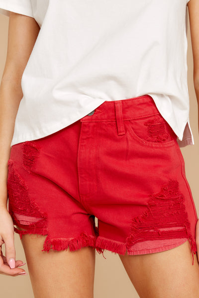 Worth A Shot Distressed Denim Shorts