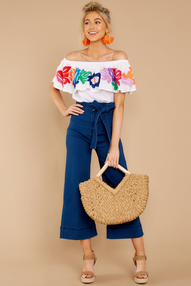 938303f16a55e Cute White Multi Embroidered Top - Off The Shoulder Blouse - Top ...