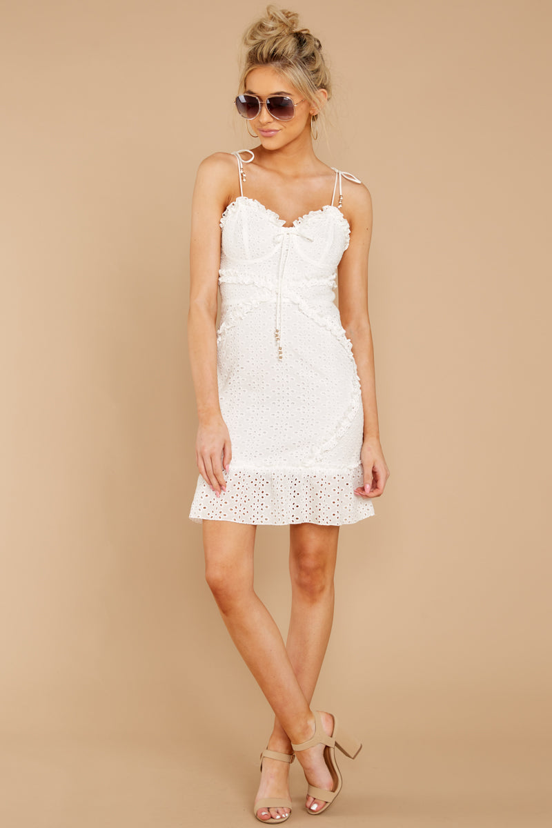3 Bursting With Joy White Eyelet Dress at reddressboutique.com