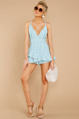 2 Be Your Best Aruba Blue Stripe Romper at reddressboutique.com