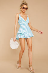 3 Be Your Best Aruba Blue Stripe Romper at reddressboutique.com