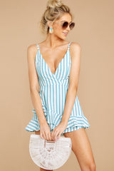 4 Be Your Best Aruba Blue Stripe Romper at reddressboutique.com