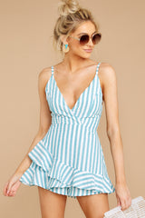 5 Be Your Best Aruba Blue Stripe Romper at reddressboutique.com