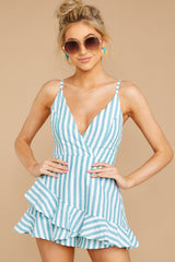 6 Be Your Best Aruba Blue Stripe Romper at reddressboutique.com