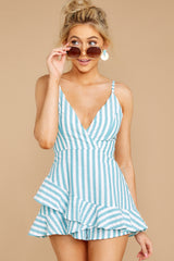 7 Be Your Best Aruba Blue Stripe Romper at reddressboutique.com