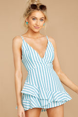 9 Be Your Best Aruba Blue Stripe Romper at reddressboutique.com