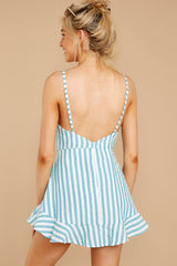 10 Be Your Best Aruba Blue Stripe Romper at reddressboutique.com