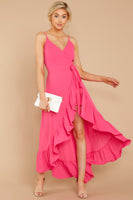 V-neck High-Low-Hem Polyester Goddess Hidden Back Zipper Button Closure Wrap Romper/Maxi Dress With Ruffles