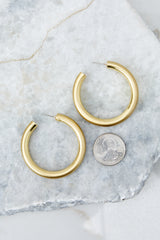 2 For Good Measure Gold Hoop Earrings at reddressboutique.com
