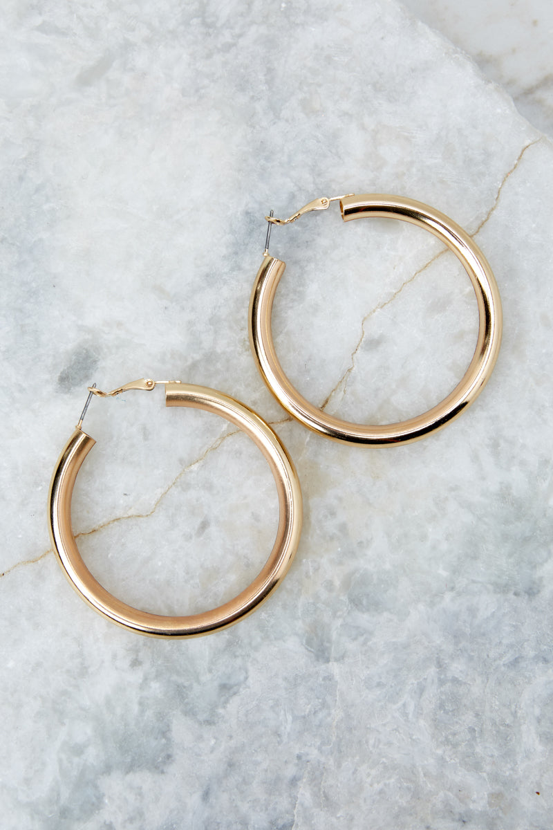 1 Just One More Gold Hoop Earrings at reddressboutique.com