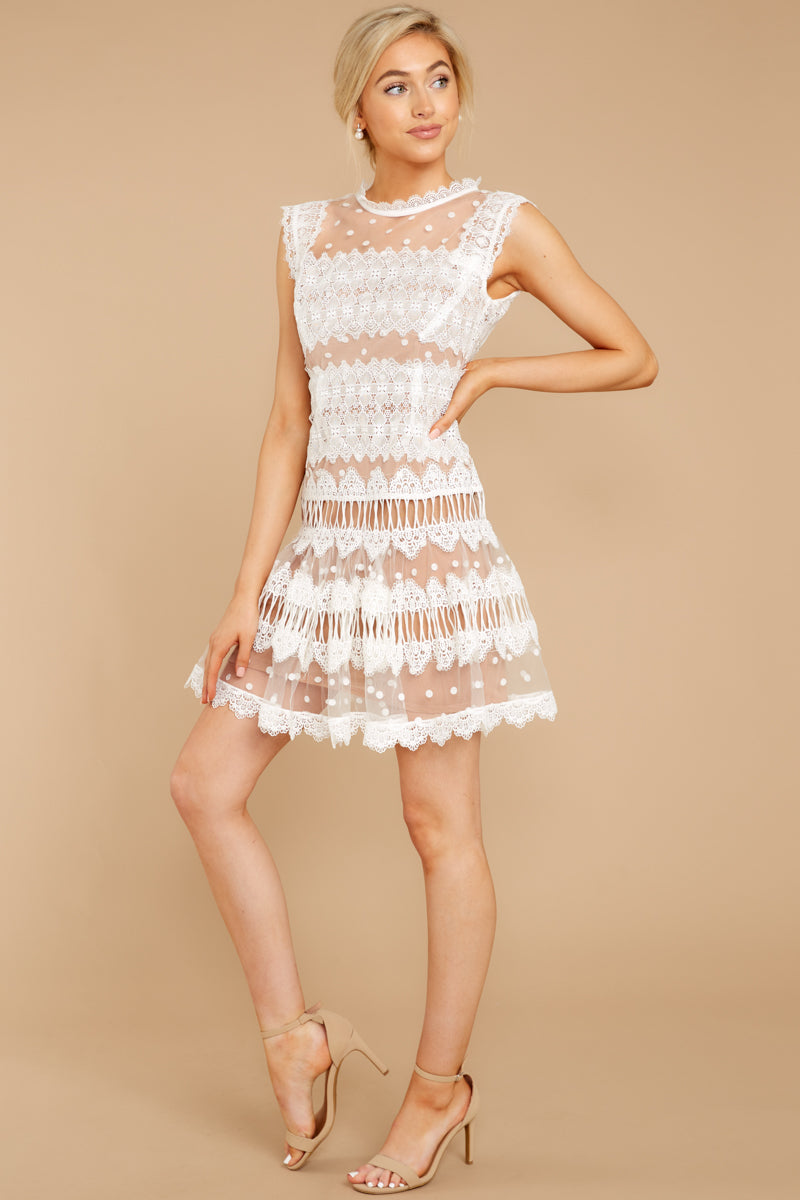 2 Time Is Yours White And Nude Lace Dress at reddressboutique.com