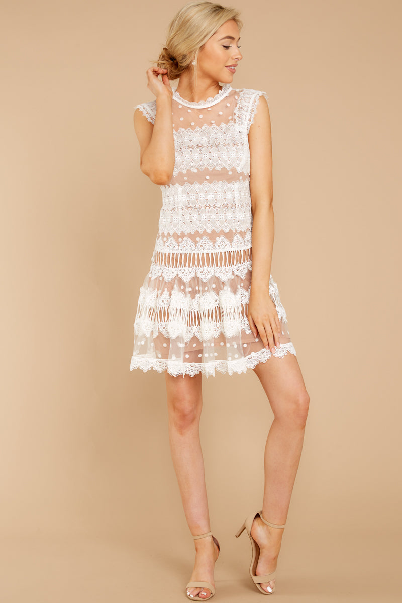 3 Time Is Yours White And Nude Lace Dress at reddressboutique.com
