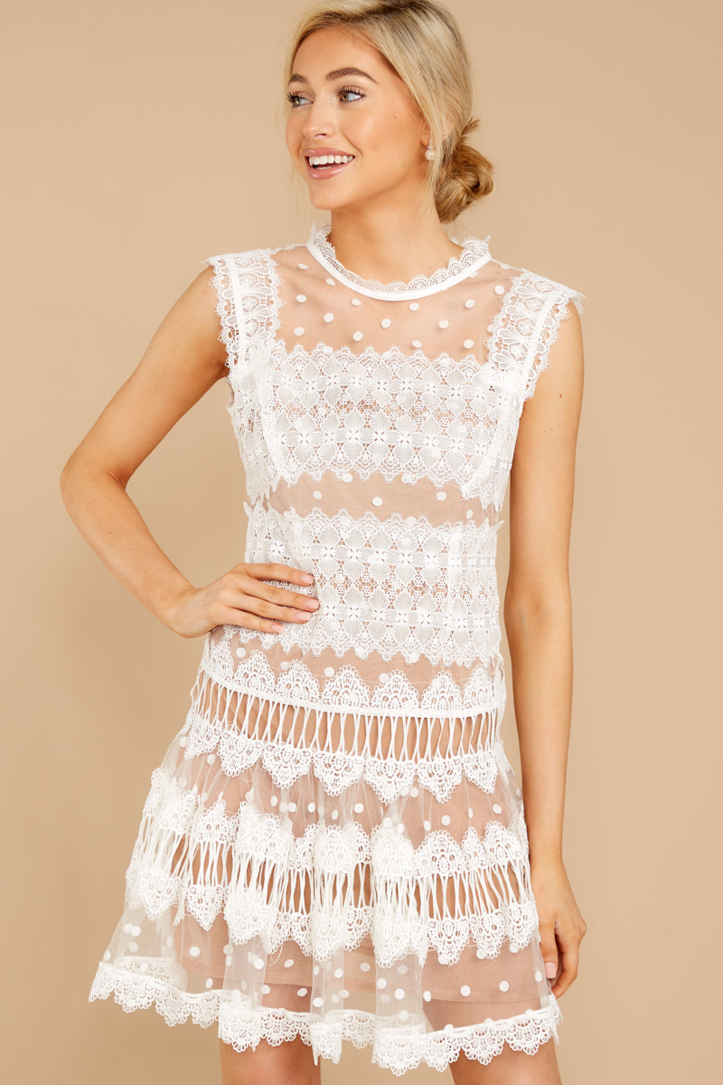 1920s Day Dresses, Tea Dresses, Mature Dresses with Sleeves Time Is Yours White And Nude Lace Dress $80.00 AT vintagedancer.com