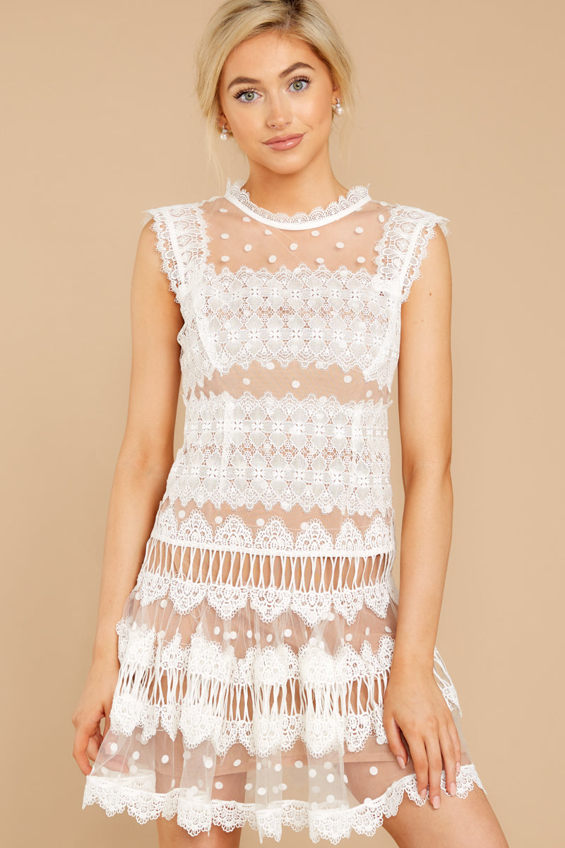 1 Time Is Yours White And Nude Lace Dress at reddressboutique.com