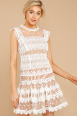 5 Time Is Yours White And Nude Lace Dress at reddressboutique.com