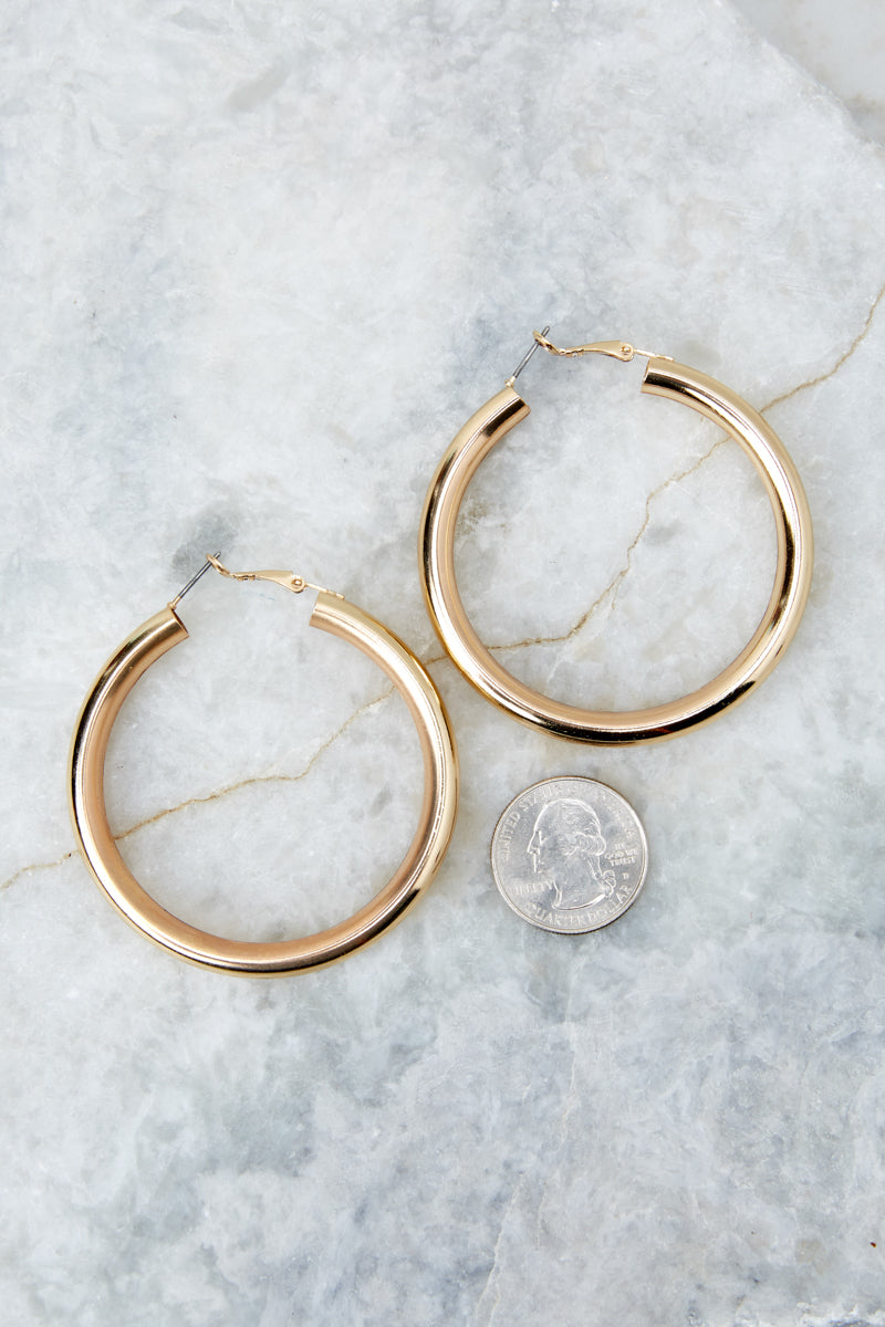 2 Just One More Gold Hoop Earrings at reddressboutique.com