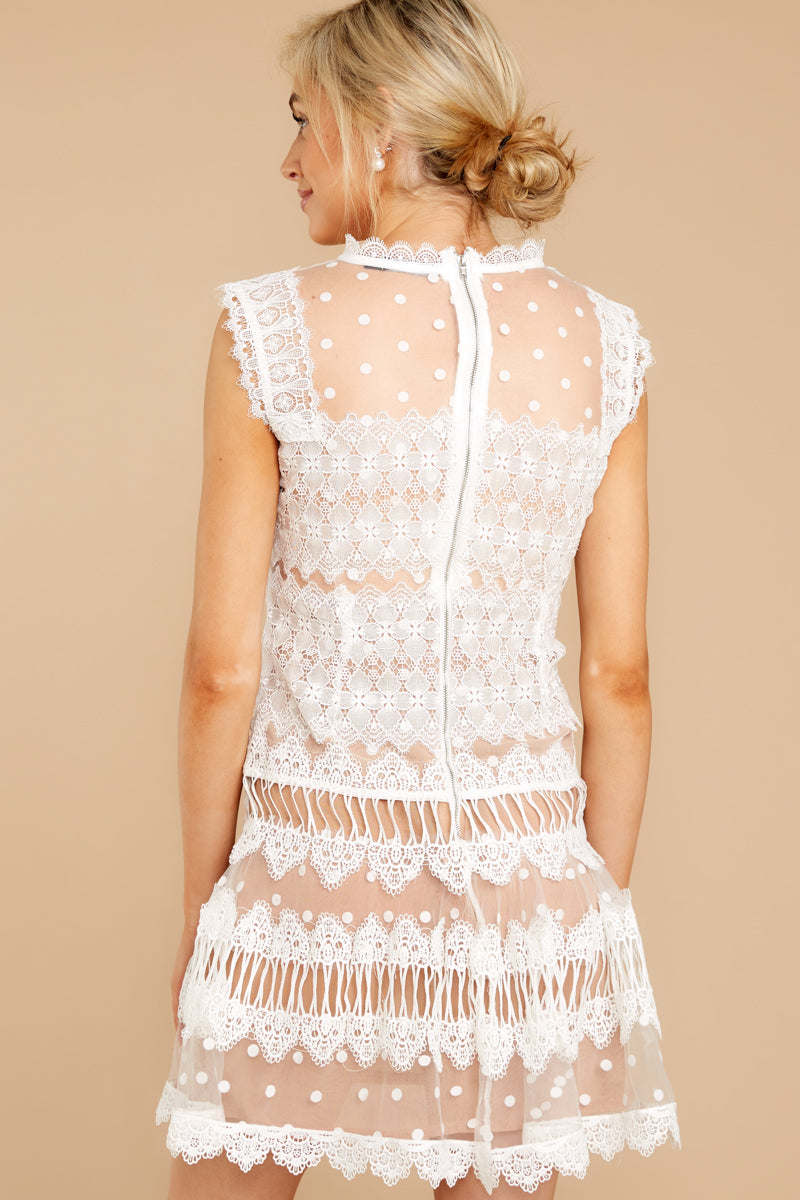 6 Time Is Yours White And Nude Lace Dress at reddressboutique.com