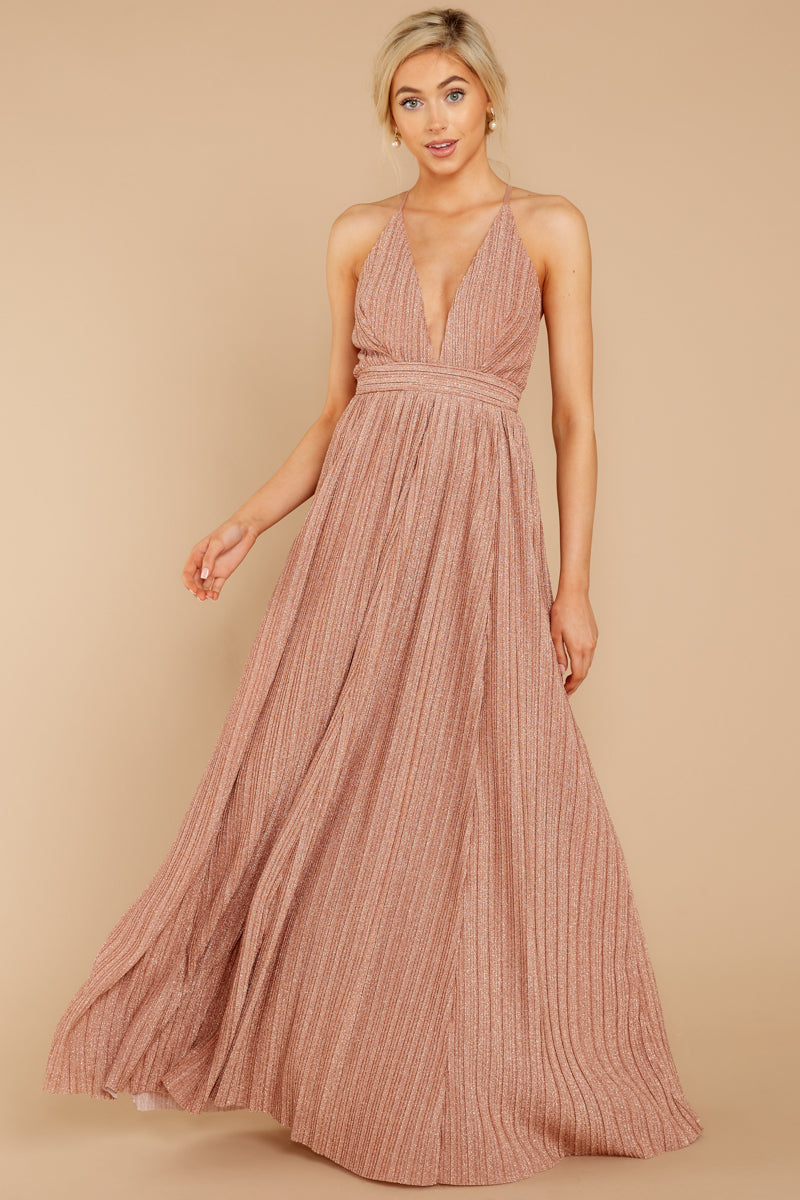 2 Never Ending Party Rose Gold Shimmery Maxi Dress at reddressboutique.com