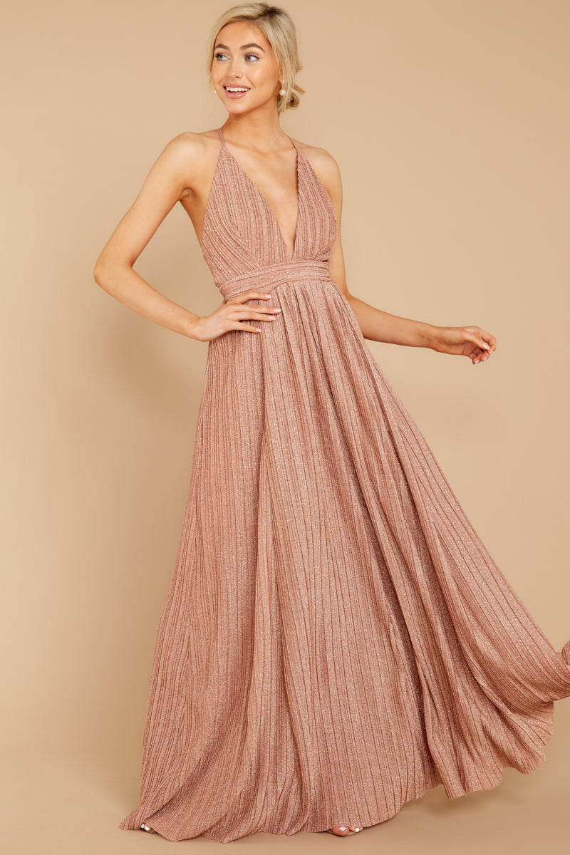 3 Never Ending Party Rose Gold Shimmery Maxi Dress at reddressboutique.com