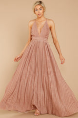 4 Never Ending Party Rose Gold Shimmery Maxi Dress at reddressboutique.com