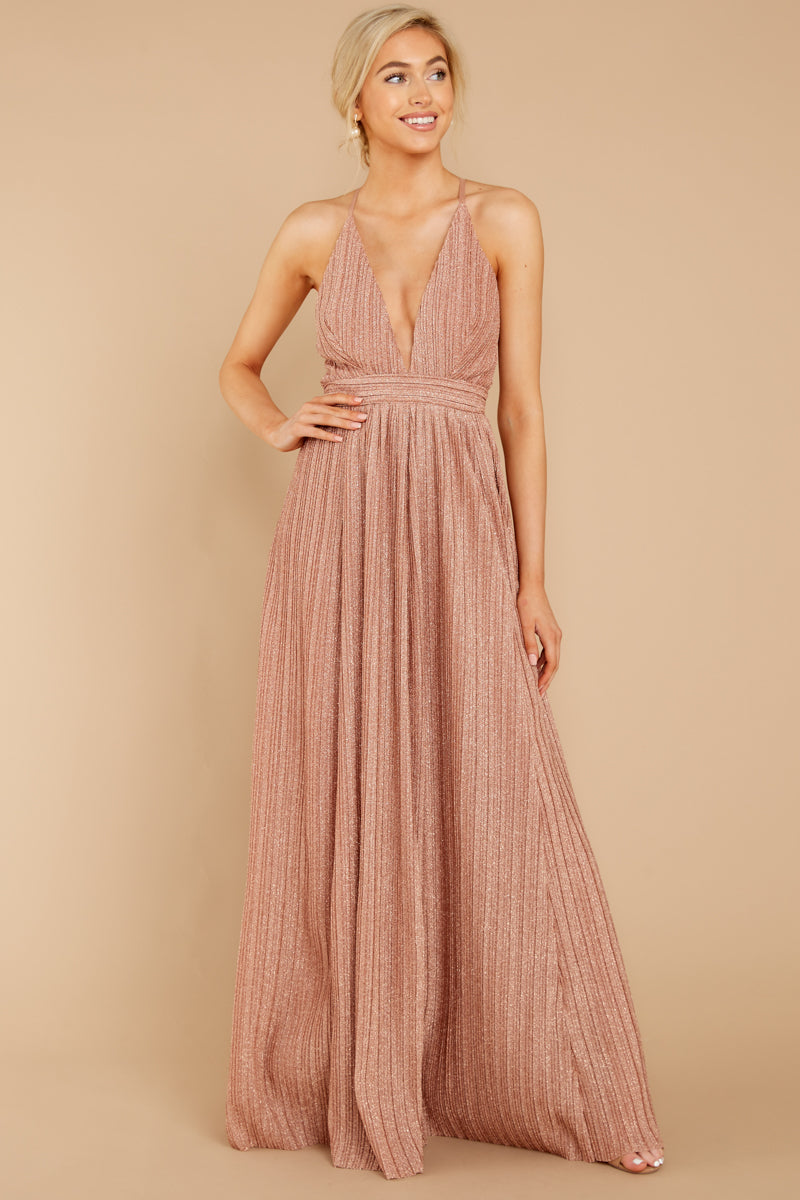 5 Never Ending Party Rose Gold Shimmery Maxi Dress at reddressboutique.com