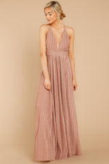 6 Never Ending Party Rose Gold Shimmery Maxi Dress at reddressboutique.com