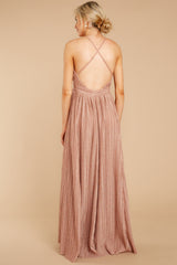 7 Never Ending Party Rose Gold Shimmery Maxi Dress at reddressboutique.com