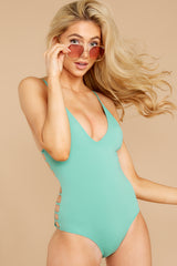 6 Kissed By Sunshine Spearmint One Piece at reddressboutique.com