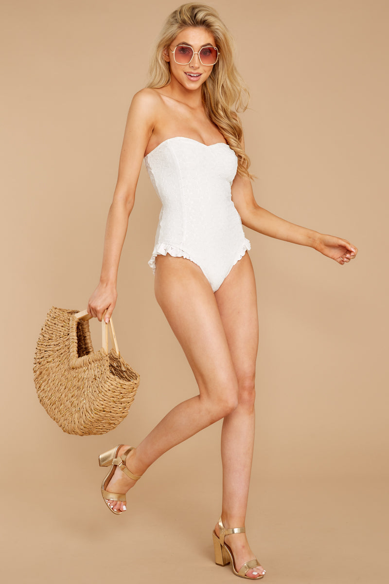 1 My Next Escapade White Eyelet One Piece at reddressboutique.com