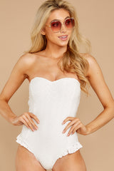 3 My Next Escapade White Eyelet One Piece at reddressboutique.com