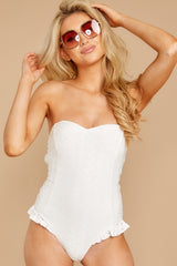 4 My Next Escapade White Eyelet One Piece at reddressboutique.com