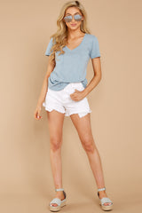 2 The Airy Slub Pocket Tee In Dusty Blue at reddressboutique.com