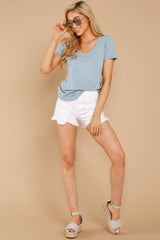 3 The Airy Slub Pocket Tee In Dusty Blue at reddressboutique.com