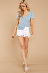 4 The Airy Slub Pocket Tee In Dusty Blue at reddressboutique.com