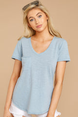 6 The Airy Slub Pocket Tee In Dusty Blue at reddressboutique.com