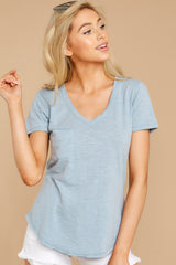 5 The Airy Slub Pocket Tee In Dusty Blue at reddressboutique.com