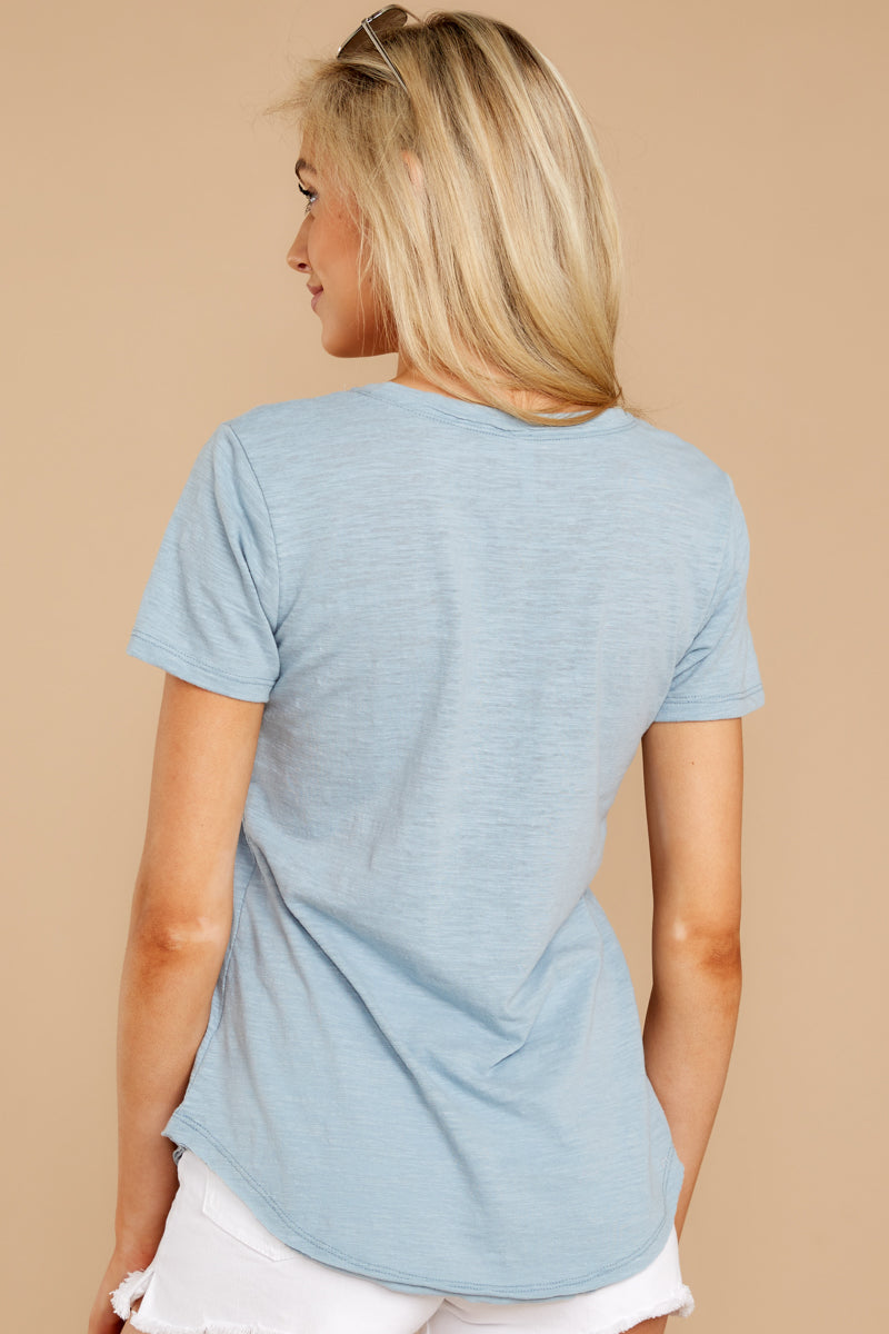 7 The Airy Slub Pocket Tee In Dusty Blue at reddressboutique.com