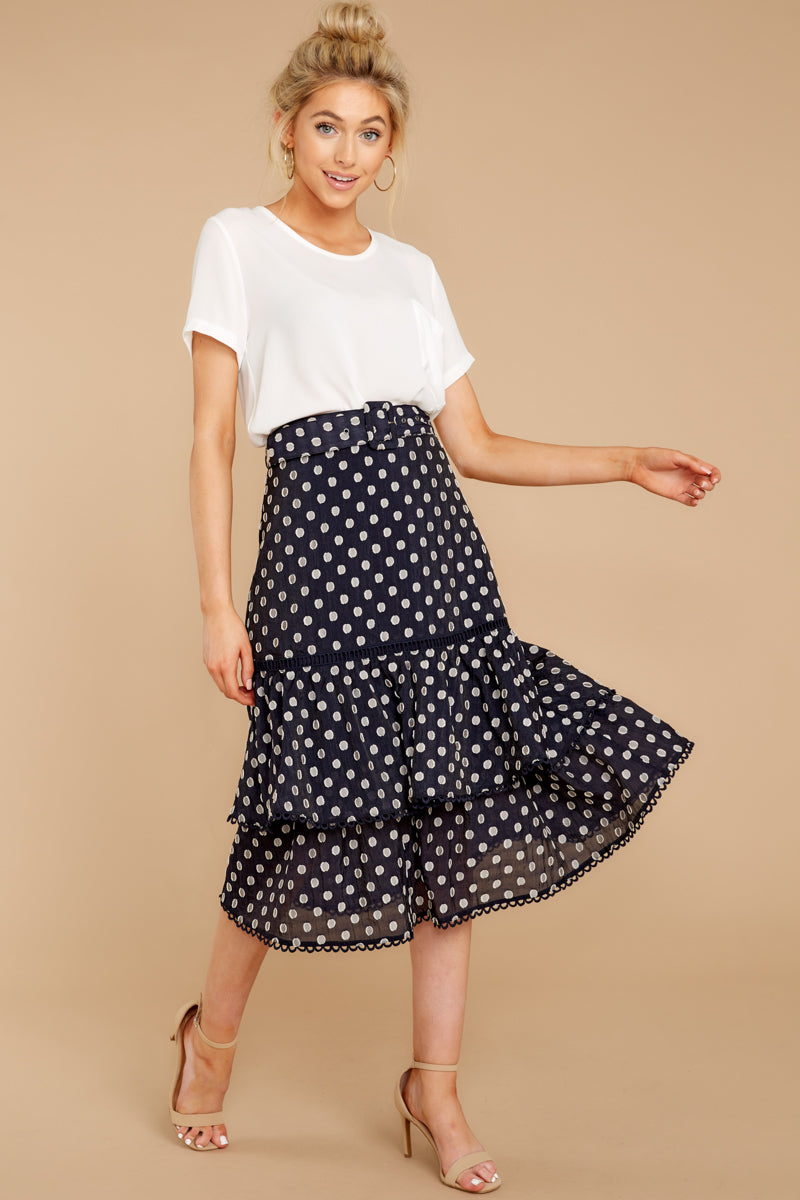 4 Everything To You Navy And White Polka Dot Skirt at reddressboutique.com