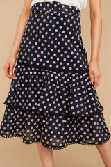 1 Everything To You Navy And White Polka Dot Skirt at reddressboutique.com
