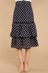 2 Everything To You Navy And White Polka Dot Skirt at reddressboutique.com