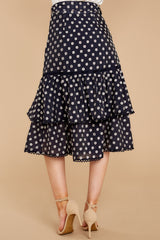 3 Everything To You Navy And White Polka Dot Skirt at reddressboutique.com