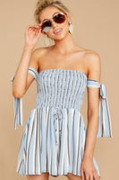 Striped Print Polyester Shirred Off the Shoulder Romper With a Ribbon