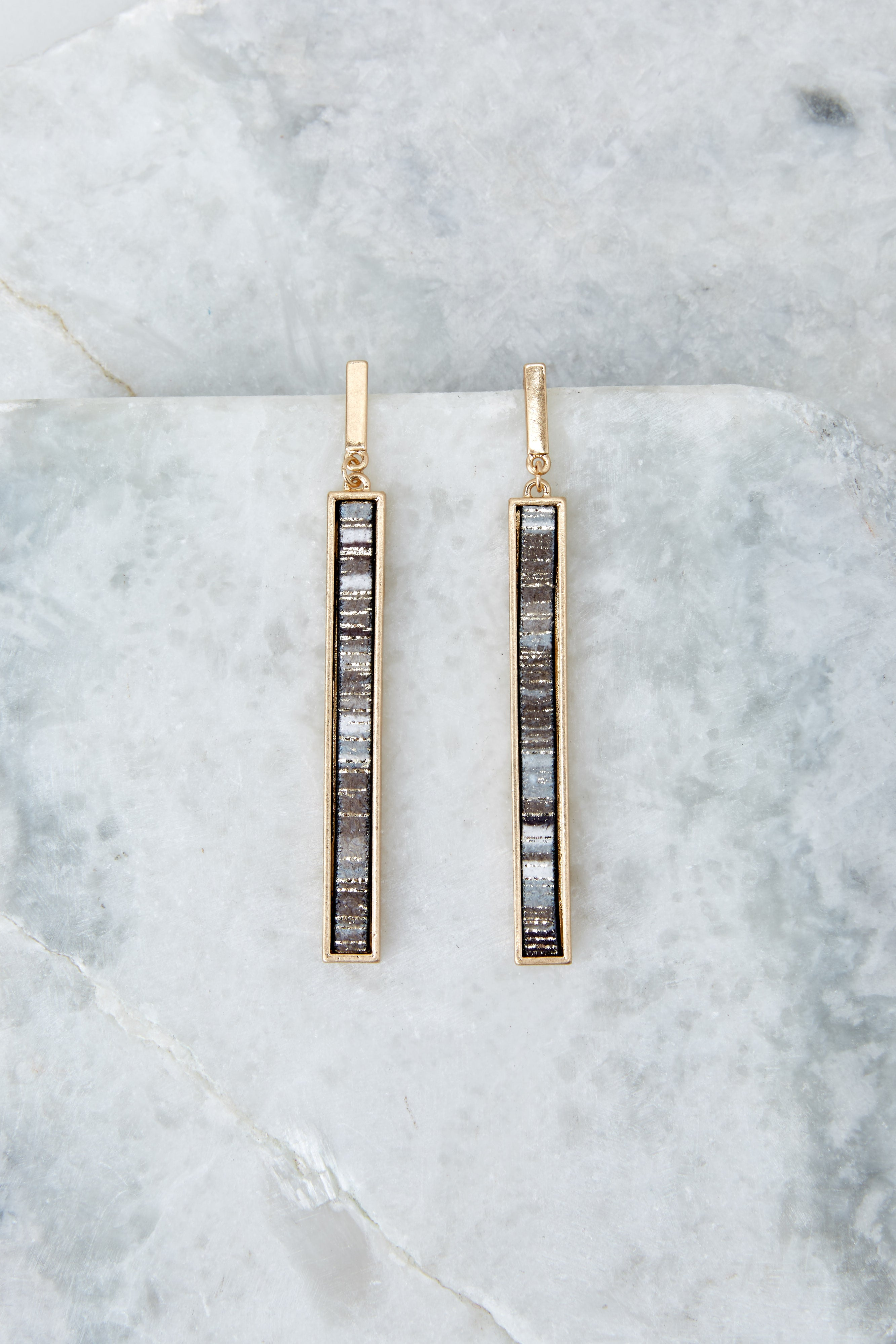 2 No Need To Worry Grey Multi Earrings at reddress.com