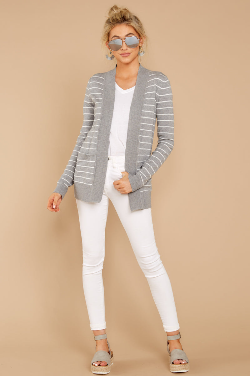 2 Leave It To Chance Heather Grey Stripe Cardigan at reddressboutique.com