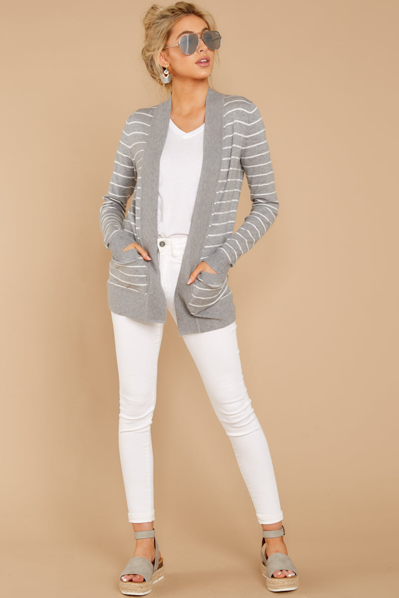 1 Leave It To Chance Heather Grey Stripe Cardigan at reddressboutique.com