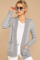 4 Leave It To Chance Heather Grey Stripe Cardigan at reddressboutique.com