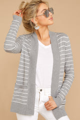5 Leave It To Chance Heather Grey Stripe Cardigan at reddressboutique.com